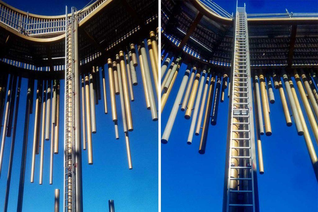 escalera de acceso vertical en el casino odiseo