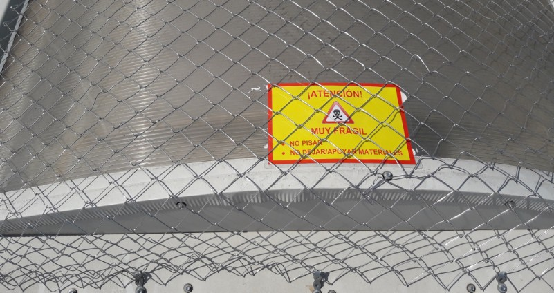 malla metálica para la protección de lucernarios
